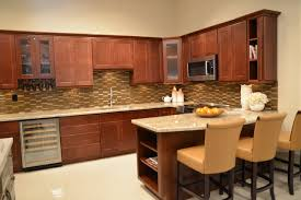 Ranch Style Kitchen Cabinets by Furniture Wheat Lafata Cabinets With Oven And Natural Stone Pole