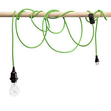 green braided cloth covered light cord