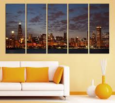 large wall art canvas print chicago city skyline at night 5 large wall art canvas print chicago city skyline at night 5 panel 5 piece