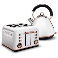 Morphy Richards Accents Red 4 Slice Toaster White Accents Rose Gold Pyramid Kettle And 4 Slice Toaster Set