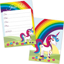 rainbow unicorn birthday invitations for