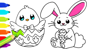 how to draw and color easter bunny and fun colouring pages for