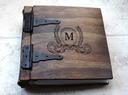 monogram photo album unique wood photo album journal monogram artist portfolio