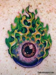 galleries flaming eyeball tattoo design