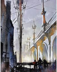 w schaller watercolor artist olympic blvd bridge