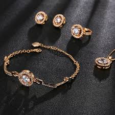 earrings bracelet sets images 4pcs set round cubic zirconia jewelry sets for women necklace jpg