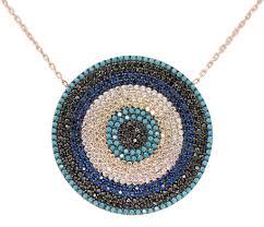 eye pendant necklace images Classic round evil eye pendant necklace large copper safir jpg