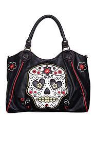 banned black sugar skull shoulder bag black faux leather