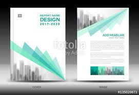 annual report brochure flyer template green cover design