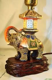 vtg 1930s satsuma moriage elephant w pagoda lamp carved rose wood