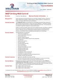 welltrain course iwcf drilling well control