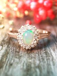 stone wedding rings images Fine jewelry opal and diamond halo engagement lt prong gt solid 14k jpg