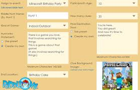 create a minecraft scavenger hunt activity for riddle me