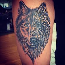 wolf thigh tattoos thighs wolf and