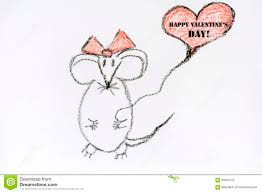 happy s day mouse drawing mouse in happy valentines day sign stock