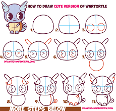 draw cute chibi kawaii wartortle pokemon easy step