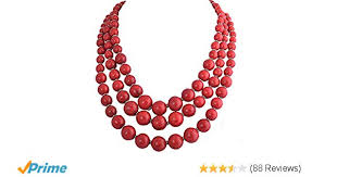 red big necklace images Jane stone red bubble necklace 3 layer illusion _SR60