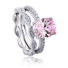 platinum sterling rings images Double accent platinum plated sterling silver wedding oval pink jpg