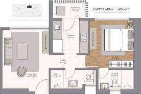 450 Square Foot Apartment Floor Plan by 743 Sq Ft 1 Bhk 2t Apartment For Sale In Piramal Realty Revanta