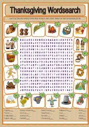 teaching worksheets thanksgiving wordsearch