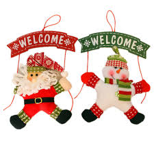 santa claus snowman welcome sign merry decoration wall