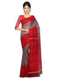 dhakai jamdani saree buy online buy women s dhakai jamdani saree of bengal in muslin grey