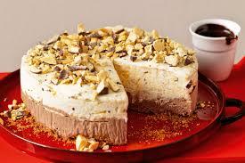 chocolate and honeycomb ice cream cake with fudge sauce