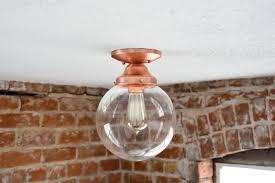 copper flush mount light free shipping semi flush solid copper 8 clear glass globe flush