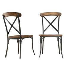 Metal Dining Chairs Homesullivan Cabela Distressed Ash Wood And Metal Dining Chair Set