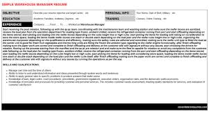 warehouse manager cover letter u0026 resume