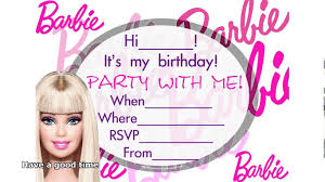 Birthday Invite Cards Free Printable Barbie Birthday Invitation Card Free Printable Paperinvite