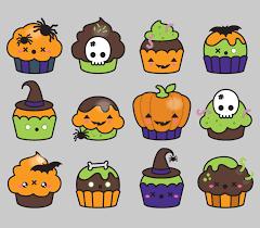 cute happy halloween logo premium vector clipart kawaii halloween cup cakes cute