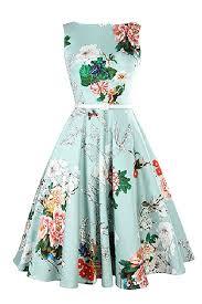 Floral Prints by Amazon Com Misshow Women U0027s Classy Audrey Hepburn 50s Retro Floral