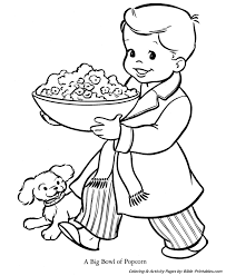 christmas kids coloring pages bowl popcorn