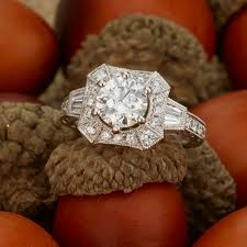 vintage halo engagement rings vintage halo baguette and engagement ring shane co