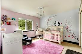 Bedroom Pink And Blue Light Pink And Blue Nursery Room With Crib Stock Photo Image