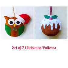 set of 2 felt christmas ornament patterns santa owl and