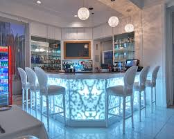 Awesome Modern Home Bar With Glowy Table And Fancy Bar Stools - Modern home bar designs