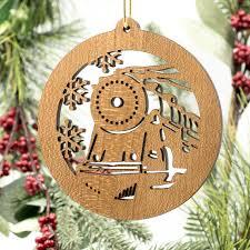 ornament locomotive filigree engraved cherry wood