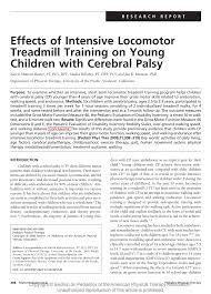effects of intensive locomotor treadmill training on young