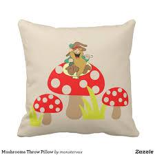 mushrooms throw pillow mushroom fungus grass leprechaun