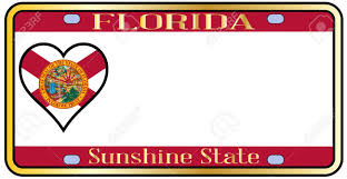 Floridas State Flag Florida State License Plate In The Colors Of The State Flag With