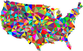 map usa color clipart flat color low poly america usa map