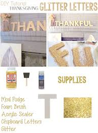 diy tutorial glitter thanksgiving letters