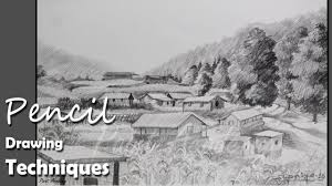 how to draw a mountain landscape with pencil step by step pencil