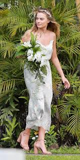 wolf of wall wedding dress margot robbie was a chic bridesmaid in hawaii instyle com