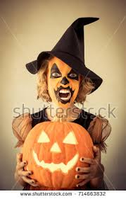 Pumpkin Halloween Costume Funny Child Dressed Halloween Costume Kid Stock Photo 714663829