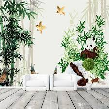 cute pandas eat bamboo photo wallpaper eco friendly wall mural art