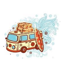 Hawaii travel bus images Retro travel bus stock vector colourbox jpg