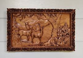 elk wood carving rustic cabin decor elk wood elk wall